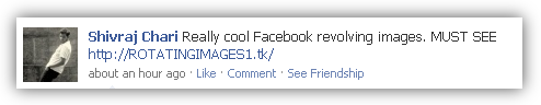 Alert JAVA Script of Revolving Images is spreading Facebook status SPAM