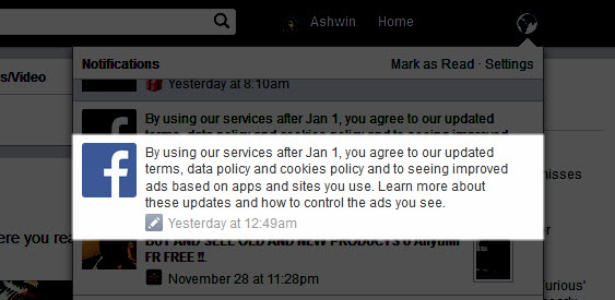 Facebook Updated Terms & data policy