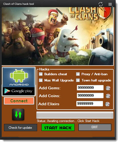clash of clans free hacker