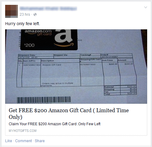 FREE $200 Amazon Gift Card on Facebook trick - 2015 (SCAM Alert!)