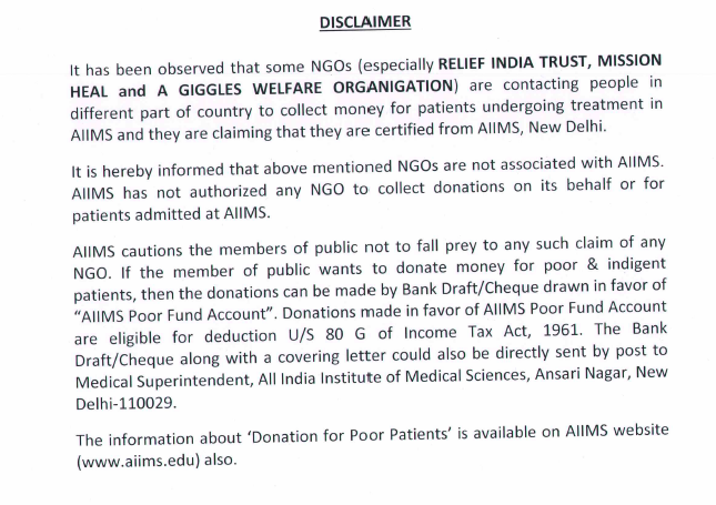AIIMS reply on fake NGO page 3