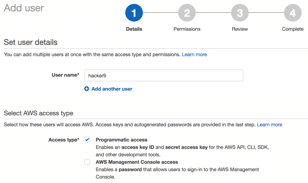 Add user in IAM services Amazon AWS EC2