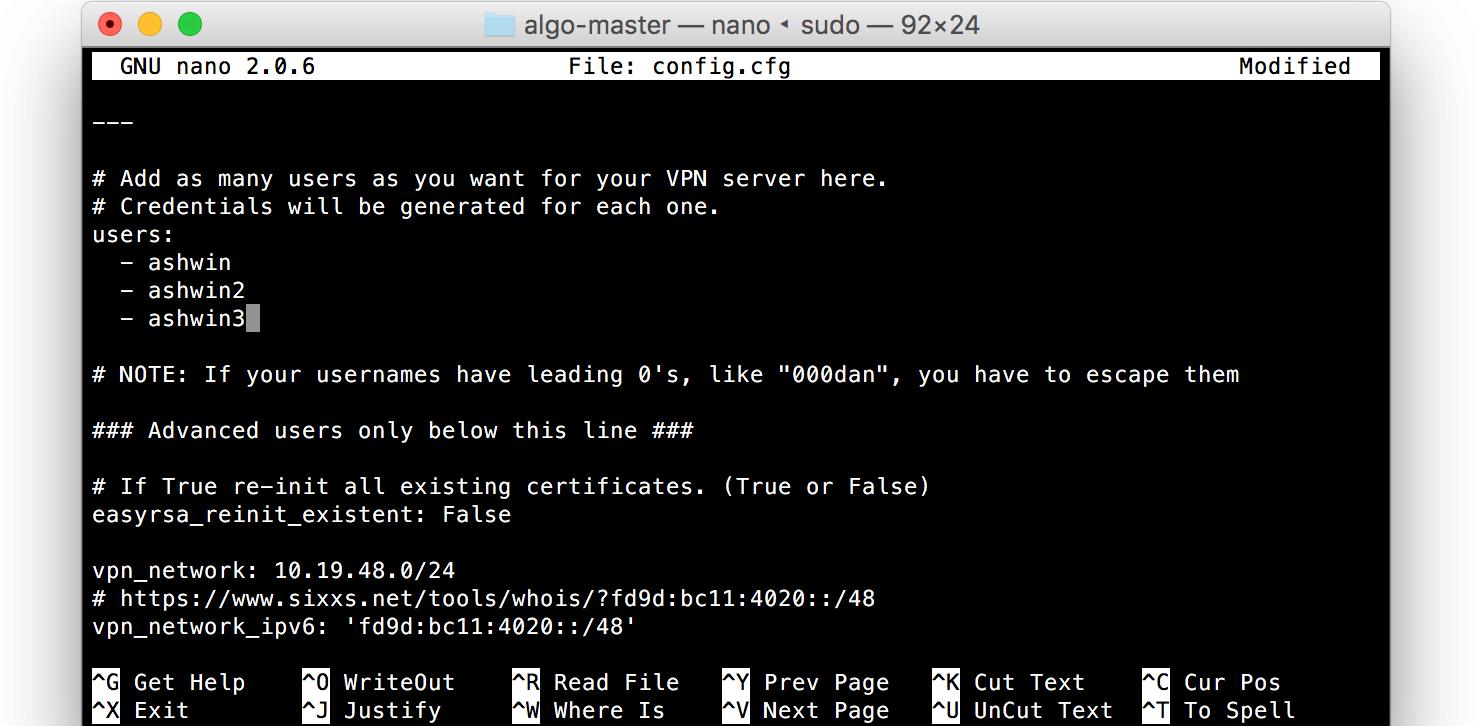 Edit users list algo config
