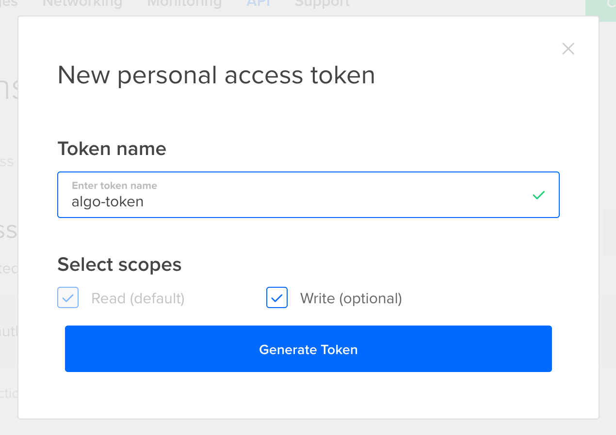 Generate Token with any name Digitalocean