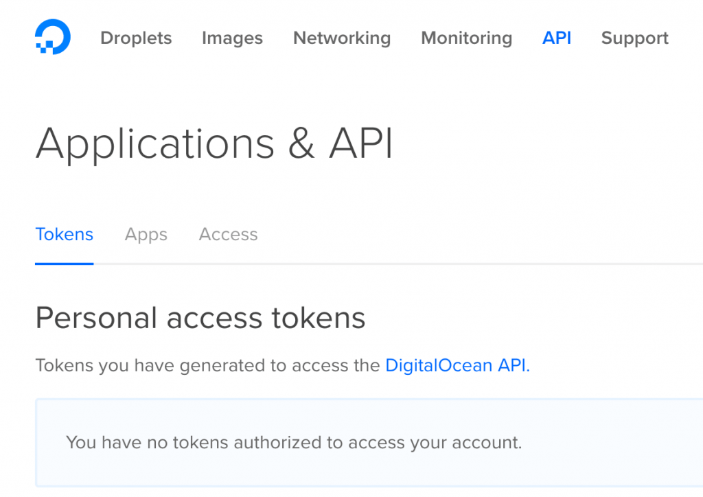Goto API section to create token Digitalocean