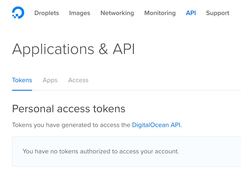 Goto API section to create token Digitalocean