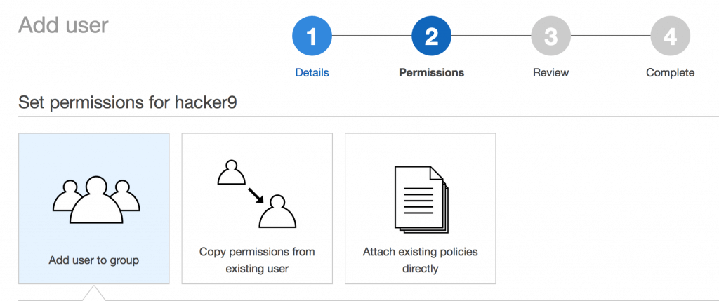 Select default permissions in IAM services Amazon AWS EC2