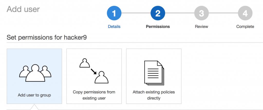 Select default permissions in IAM services Amazon AWS EC2