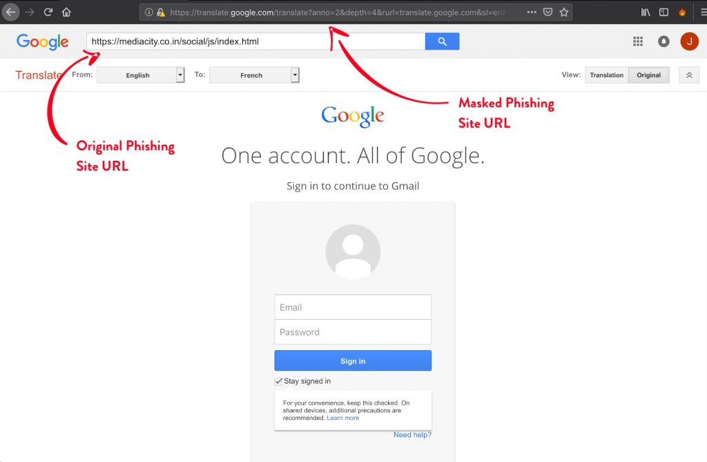 new phishing attack google translate and facebook login
