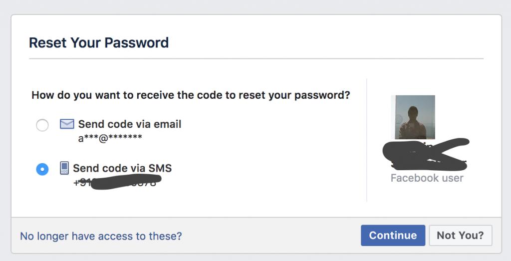 Forgot Password method to hack facebook